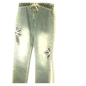 Crest Jeans Embelished With Crochet Lace leg 15/16